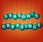 Tarjeta de saludos de temporadas colgando chuchería en formato vectorial. — Vector de stock
