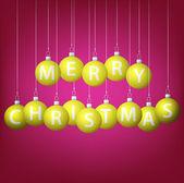 Feliz natal pendurado bauble cartão em formato vetorial. — Vetorial Stock
