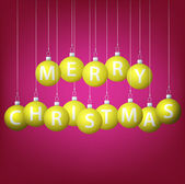 Merry Christmas hanging bauble card in vector format — Vector de stock