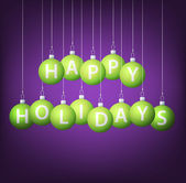 Happy Holidays hanging bauble card in vector format — Vettoriale Stock