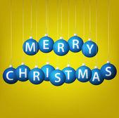 Vrolijk kerstfeest opknoping bauble kaart in vector-formaat. — Stockvector
