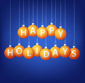Happy Holidays hanging bauble card in vector format — Vector de stock