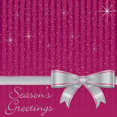Pink bow and stars Christmas card in vector format — Stock Vector