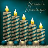 Tarjeta de vela, chuchería y oropeles de saludos temporadas en formato vectorial — Vector de stock