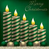 Cartão de feliz natal vela, bugiganga e enfeites de natal em formato vetorial — Vetorial Stock