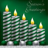 Seasons pozdrowienia świeca, cacko i błyskotka karty w formacie wektorowym — Wektor stockowy