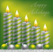 Mutlu tatiller mum, biblo ve tinsel kartı vektör formatında — Stok Vektör