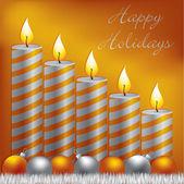 Vela, chuchería y oropel tarjeta de felices fiestas en formato vectorial — Vector de stock