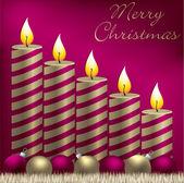 Tarjeta de feliz navidad vela, chuchería y oropel en formato vectorial — Vector de stock