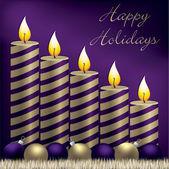 Buone vacanze candela, bagattella e tinsel scheda in formato vettoriale — Vettoriale Stock