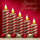 Carta stagioni saluti candela, bagattella e tinsel in formato vettoriale — Vettoriale Stock