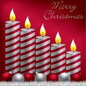 Wesołych świąt świeca, cacko i błyskotka karty w formacie wektorowym — Wektor stockowy