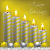 Cartão de boas festas vela, bugiganga e enfeites de natal em formato vetorial — Vetorial Stock