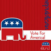 """Vote for America"" Republican election card in vector format. — Stock Vector"