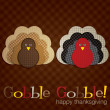 Spotty turkey Thanksgiving card in vector format — Stock Vector #17636823