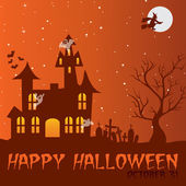 Haunted house Happy Halloween card in vector format — Stock Vector