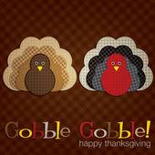 Spotty turkey Thanksgiving card in vector format — Stock Vector