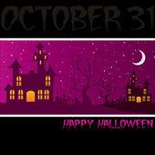 Haunted house Happy Halloween card in vector format — Stock Vector