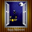 Looking through the window at a haunted house Halloween card in vector format - Stock Vector