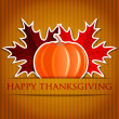 Royalty-Free Stock Vector Image: Pumpkin and maple leaf Thanksgiving card in vector format.