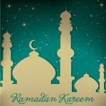 "White gold silver Mosque and stars ""Ramadan Kareem"" Generous Ramadan card in vector format — Stock Vector #17667335"