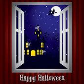 Mirando por la ventana en una tarjeta de halloween casa encantada en formato vectorial — Vector de stock