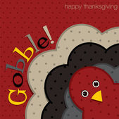 Hiding turkey spotty Thanksgiving card in vector format — Stock Vector