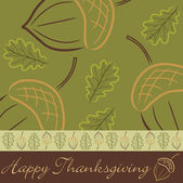Hand drawn acorn leaf Thanksgiving card in vector format — Stock Vector
