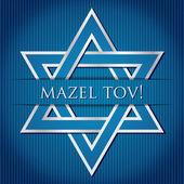 """Mazel Tov!"" blue star of David card in vector format — Stock Vector"