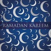 "Silver crescent moon ""Ramadan Kareem"" Generous Ramadan card in vector format — Stock Vector"