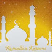 "White gold silver Mosque and stars ""Ramadan Kareem"" Generous Ramadan card in vector format — Stock Vector"