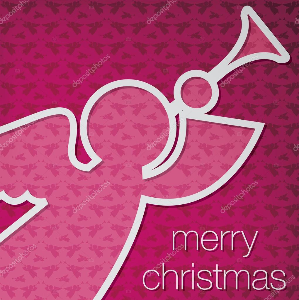 "Cut out ""Merry Christmas"" angel card in vector format. — Stock Vector #17666427"