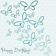 Happy Birthday butterfly card - 图库矢量图片
