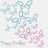 Happy Birthday butterfly card — Stock Vector