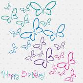 蝶の幸せな誕生日カード — ストックベクタ