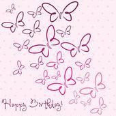 счастливый день рождения бабочка — Cтоковый вектор