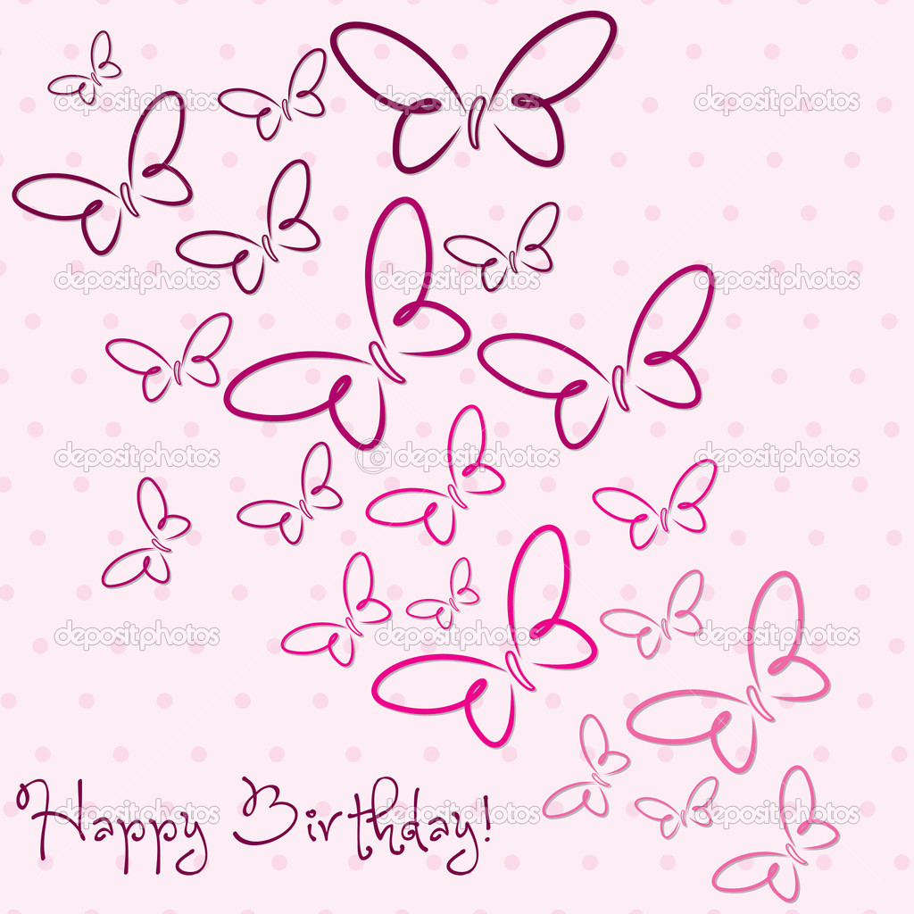 Happy birthday butterfly card allfreepapercrafts com - Happy Birthday Butterfly Card Stock Vector Piccola Birthday Card