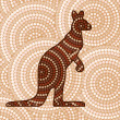 Stock Vector: Abstract Aboriginal Kangaroo dot painting in vector format.