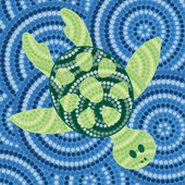 Abstract Aboriginal turtle dot painting in vector format. — Stock Vector