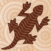 Abstract Aboriginal lizard dot painting in vector format. — Stock Vector