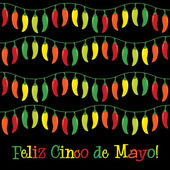Cinco de Mayo chili pepper greeting cards in vector format — Stock Vector