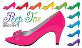 A vector illustration of high heeled peep toe shoe set — Stock Vector