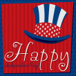 Patriotic Uncle Sam hat 4th of July card in vector format. — 图库矢量图片