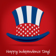 Patriotic Uncle Sam hat 4th of July card in vector format. — Stockvectorbeeld