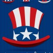Patriotic Uncle Sam hat 4th of July card in vector format. — Vettoriali Stock