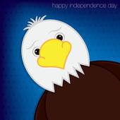 Cute cartoon eagle Independence Day card in vector format. — Stock Vector