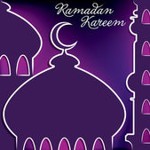 "Hand drawn Mosque ""Ramadan Kareem"" (Generous Ramadan) card in vector format. — Stock Vector"