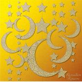 Eid Mubarak (Blessed Eid) filigree moon card in vector format. — Vector de stock