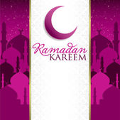 """Ramadan Kareem"" (Generous Ramadan) mosque card in vector format. — Stock Vector"