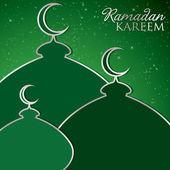 """Ramadan Kareem"" (Generous Ramadan) mosque card in vector format — Stock Vector"